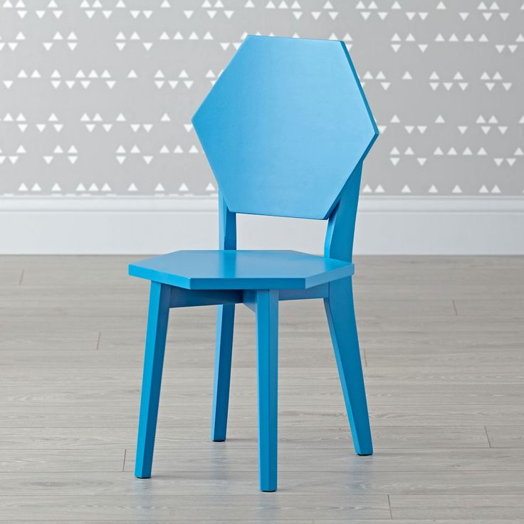 Shop Polygon Blue Kids Chair.  Whatever shape your home may be in, these unique hexagon wooden kids chairs will make themselves at home in a playroom, kids room and more.