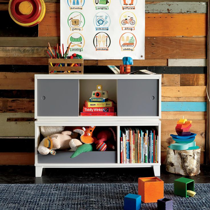 love wall wood, bookcase / District Modern Storage Bench Bookcase with Bin (White) | The Land of Nod