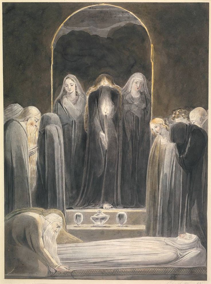 William Blake, 'The Entombment' c.1805 - he was strongly influenced by his time in Westminster Abbey drawing sketches of the tombs - this tomb position is a posture used repeatedly in his work to signify death of the spirit
