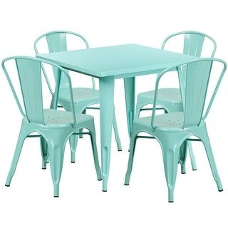 Lenzburg 31.5'' Square Mint Green Metal Indoor-Outdoor Table Set with 4 Stack Chairs | Overstock.com Shopping - The Best Deals on Dining Sets