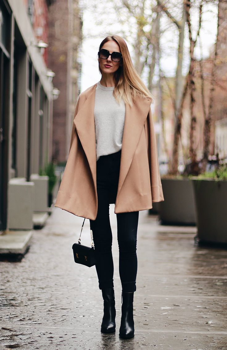 Simple neutral look perfect for day to night featuring a camel cape by Alfani