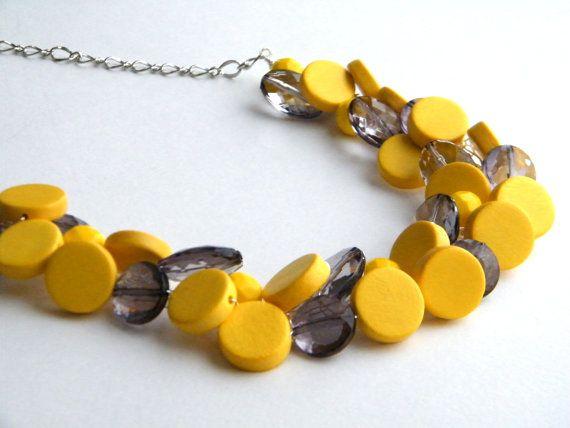Gele en grijze halsketting met verklaring ketting