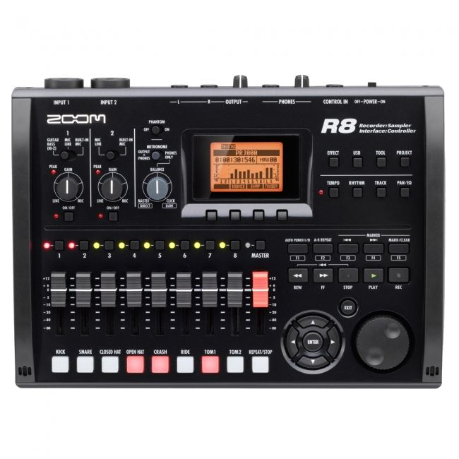 The Zoom R8 combines multiple audio production tools in one compact device. In addition to being an 8-track recorder, it's a pad sampler and a rhythm machine, and can even serve as a DAW control surface and computer audio interface.