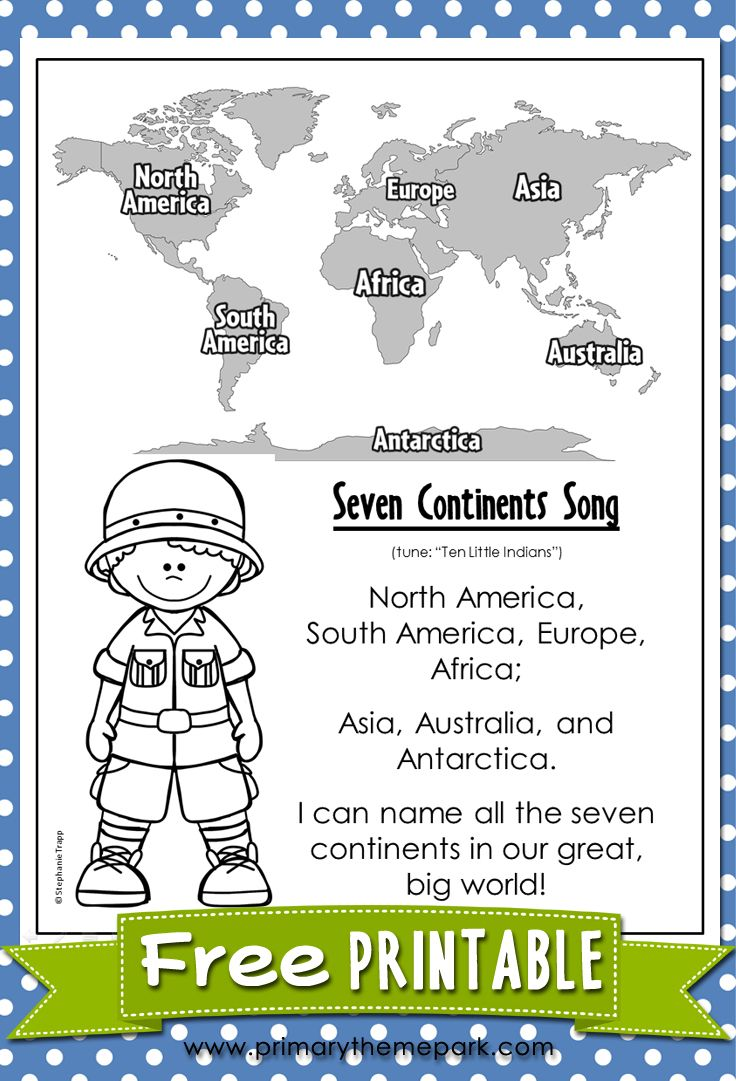 Seven Continents Song Printable Help your students learn all seven continents with this fun song! A printable fact sheet about the continents is included.
