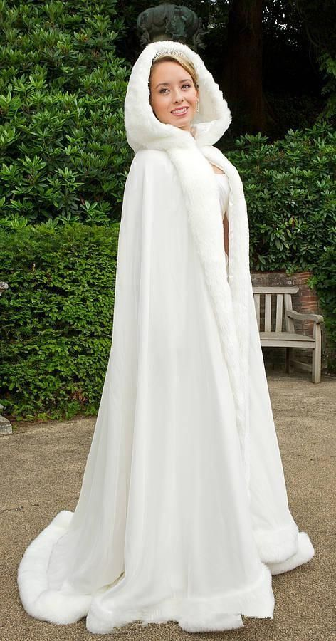 2015 Winter Cheap Bridal Cape White Hooded Wedding Cloaks With Faux Fur Trim Long Bridal Jacket From Gracedressonline, $83.09 | Dhgate.Com