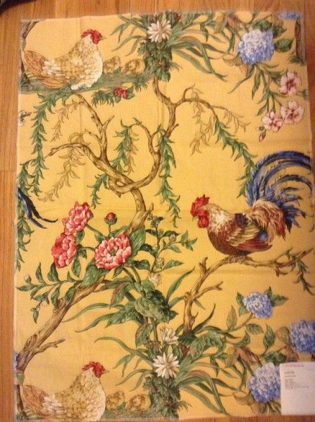 French Country Rooster Fabric 'Chanticleer' by Scalamandre. Kitchen/Breakfast Nook.