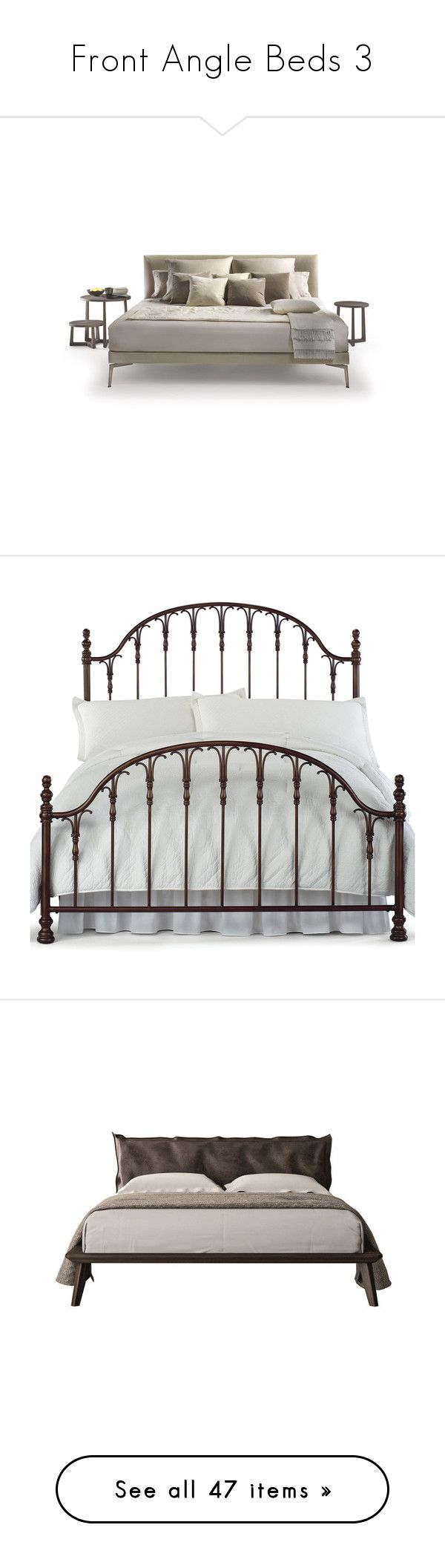 """""""Front Angle Beds 3"""" by libbylu116-1 ❤ liked on Polyvore featuring home, furniture, beds, bedroom, decor, borders, filler, picture frame, king size bed and queen metal headboard"""