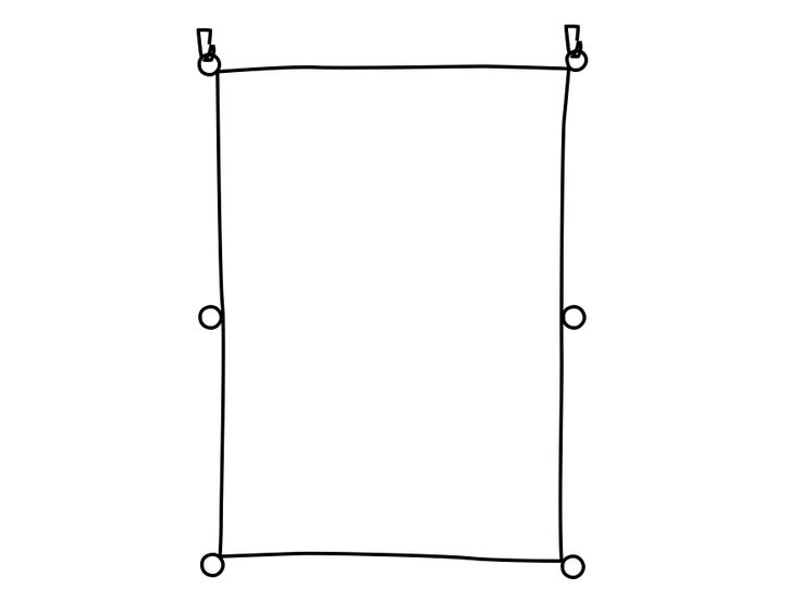 GIF sobre com fer una cortina amb una peça rectangular de tela
