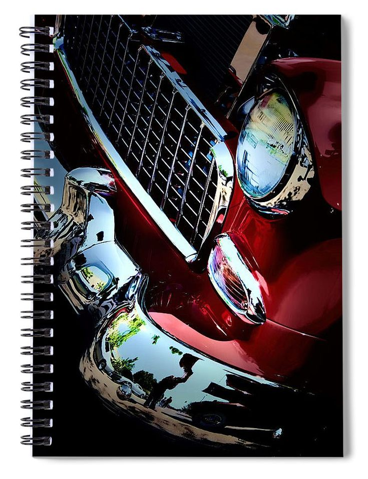 Beautiful deep rich red Chevy front end art on journaling notebook. Perfect notebook for documenting travels, car maintenance and car events. #art #carart #journaling #journal #notebook #giftideas #GiftsforHim