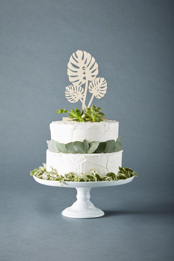 Custom Monstera Wedding Cake Topper Lasercut Birch Wood