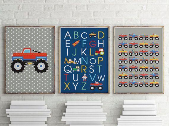 Monster truck prints, ABC for boys, package offer for boys bedroom