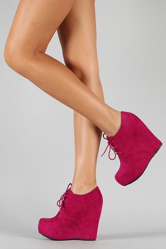 Qupid Worthy-92A Suede Lace Up Wedge Bootie