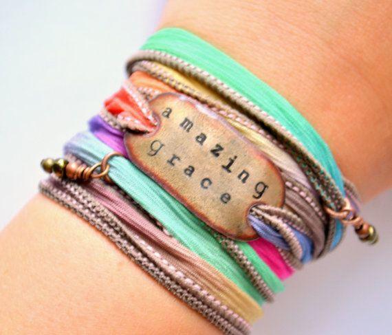 CIJ SALE- Amazing Grace- Boho Silk Wrap Ribbon Bracelet- ribbon bracelet- wrap- gypsy- hippie- boho bracelet on Etsy, $29.00