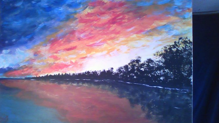 Sunset Lake an Original Acrylic Painting  by William Blakney