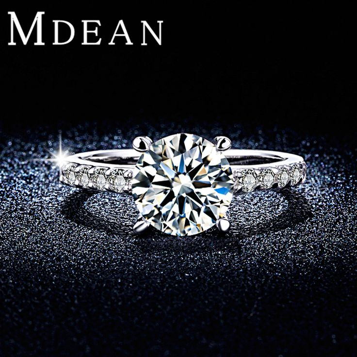 MDEAN Round White Gold Plated Wedding Rings For Women AAA CZ Diamond Micro Paved Women Engagement Rings Bague Accessories MSR291