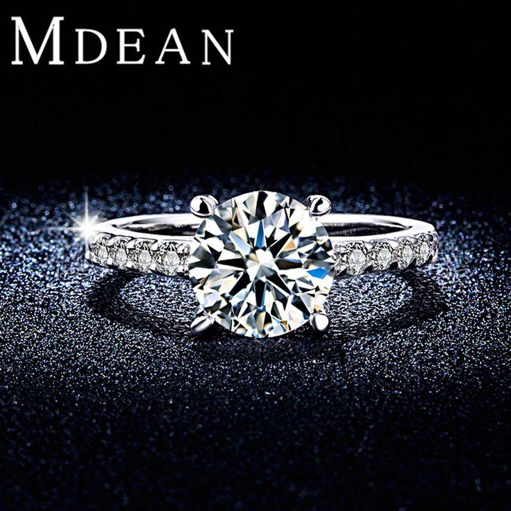 Mdeanラウンドホワイトゴールドカラーの結婚指輪aaa czダイヤモンドマイクロ舗装女性婚約指輪バゲアクセサリーmsr291