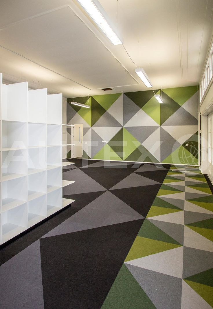 Autex Acoustics - Symphony® Acoustic Wallcovering - Whakawerawera School, NZ - Custom Cut Design - Colour: Wasabi, Avocado, Silver & Civic