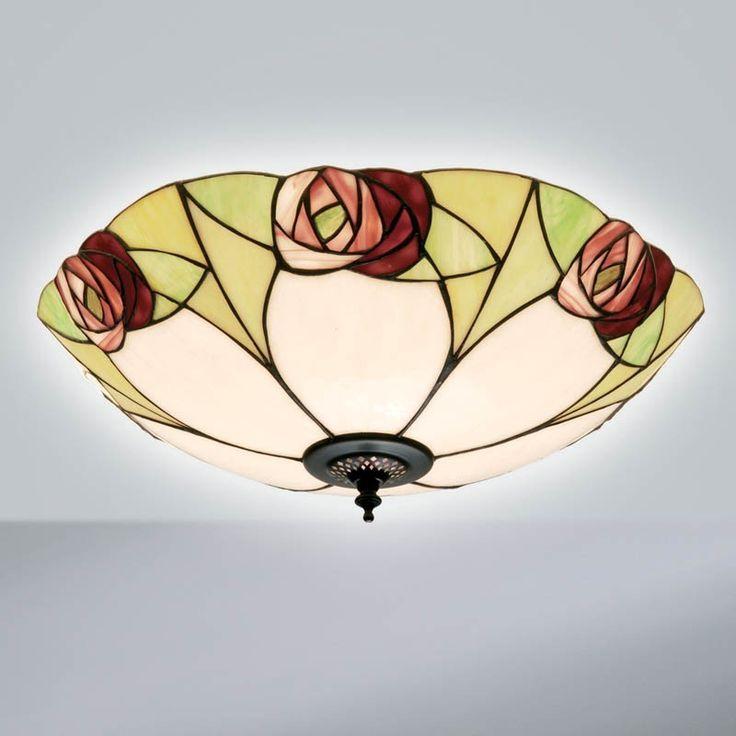 Plafoniera Tiffany / Lampada da Soffitto Tiffany con Fiori
