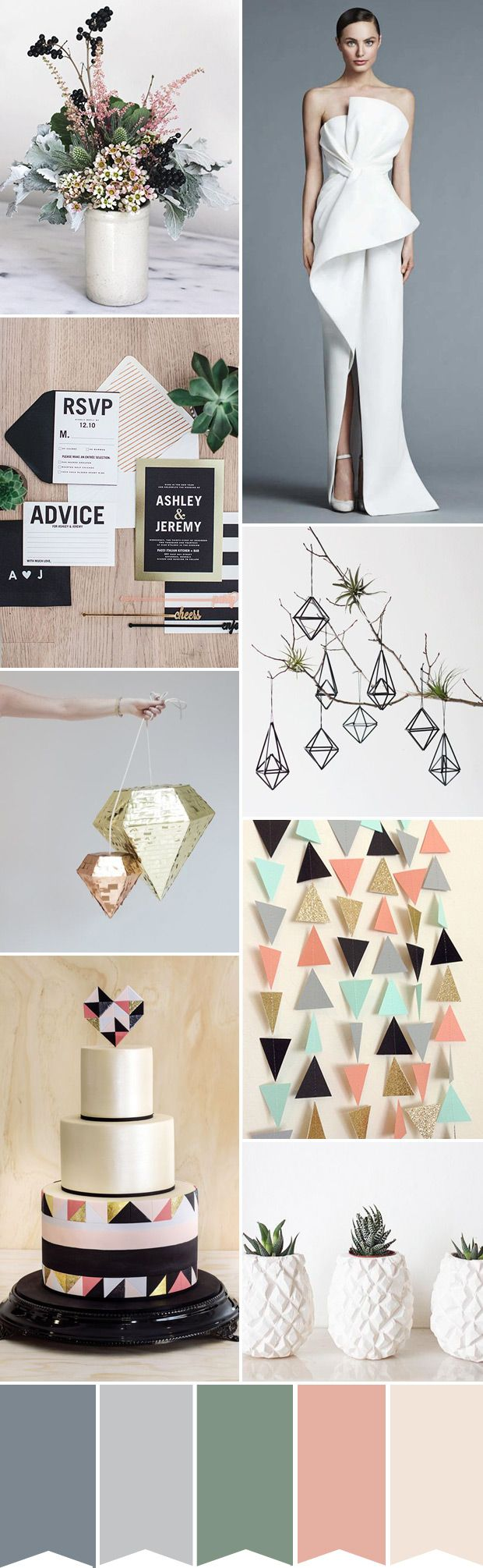 Modern Geometric Wedding Color Palette | www.onefabday.com