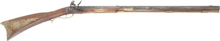 eastern pennsylvania longrifle - .50 caliber - 34 and a half inch oron barrel - chambers ketland flint lock - halfstock curly maple