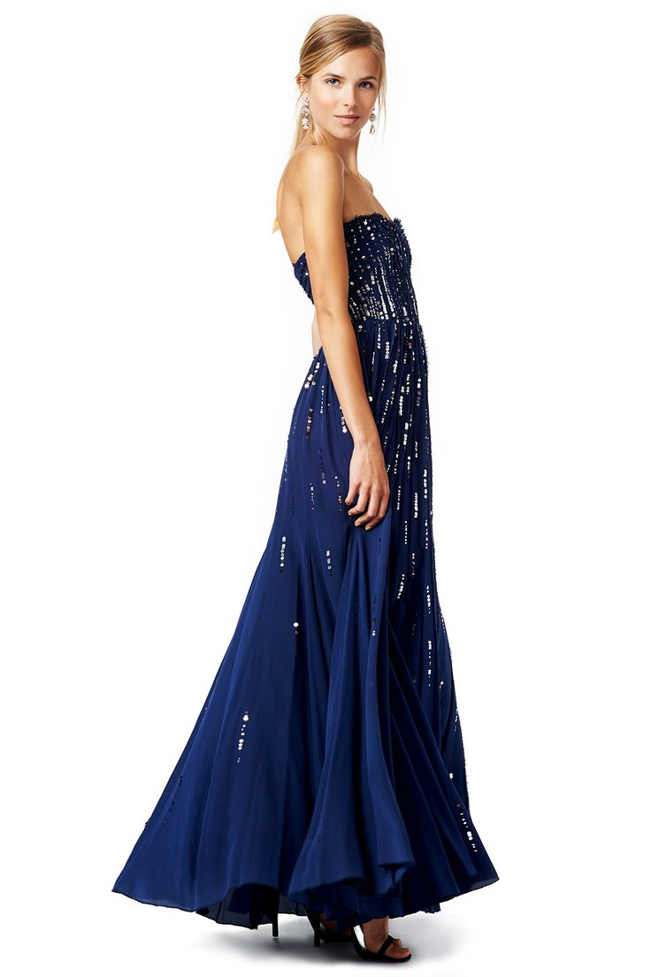 Long Strapless Navy Gown With Sequined Bodice Meteor Shower By Rebecca Taylor