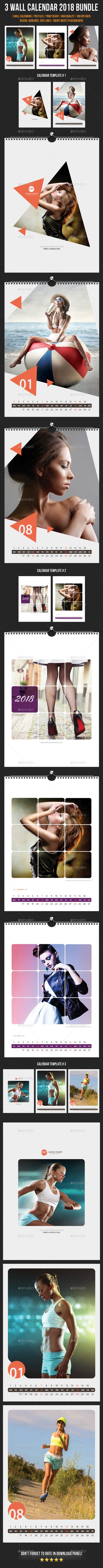 3 Creative Wall Calendar 2018 Bundle 5 — Photoshop PSD #stationery #year 2018 • Download ➝ https://graphicriver.net/item/3-creative-wall-calendar-2018-bundle-5/20482082?ref=pxcr