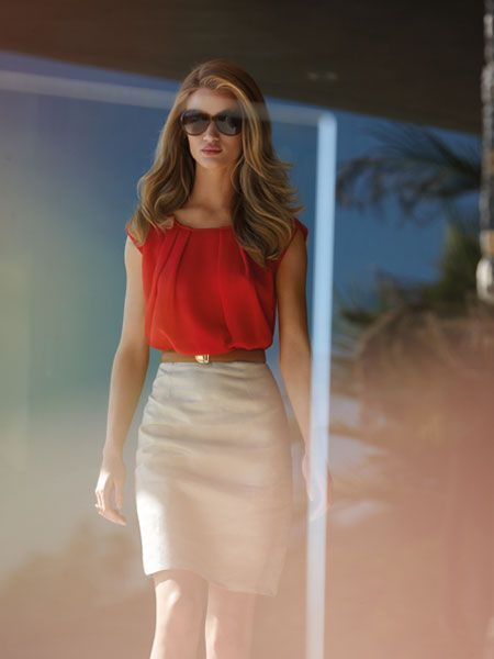 High waist cream skirt and red blouse | Just a Pretty Style