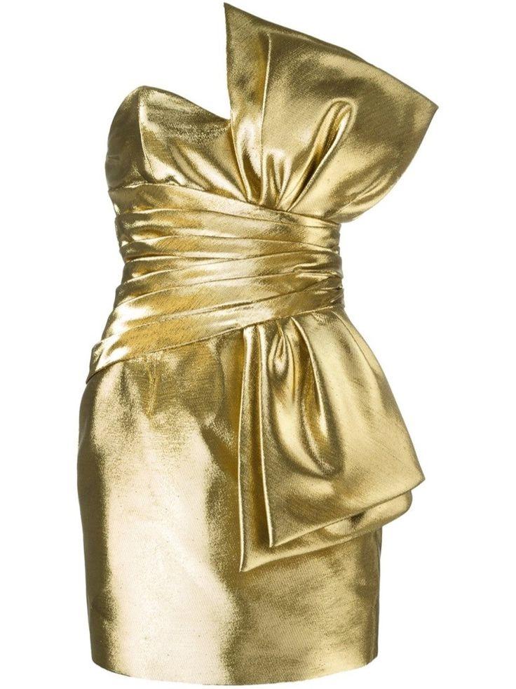 Saint Laurent Bow Minikleid Gold