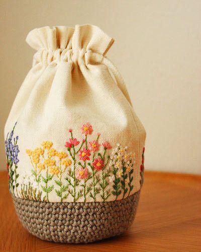 秋の花刺繍巾着|* Slow Life *
