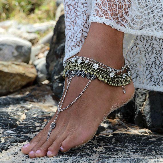 Damen Boho barfuss Sandalen mit Silber Ketten gold von ForeverSoles