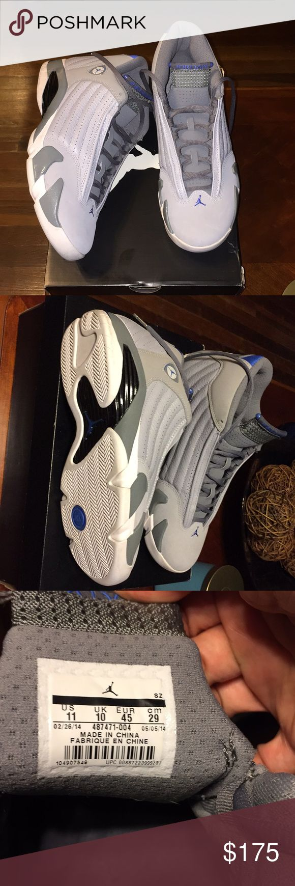 Air Jordan 14 Retro Worn 3x's. Grey and blue, still in box. Air Jordan Shoes Sneakers