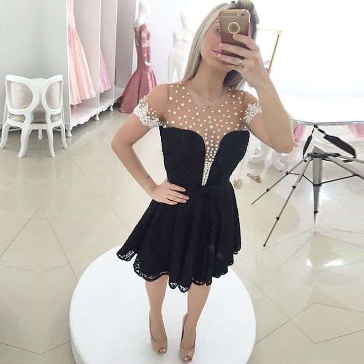Sexy Sheer Black and White A Line Short Sleeve Pearls Lace Short Homecoming Dresses 2017 Bow Semi Formal Cocktail Dresses H42