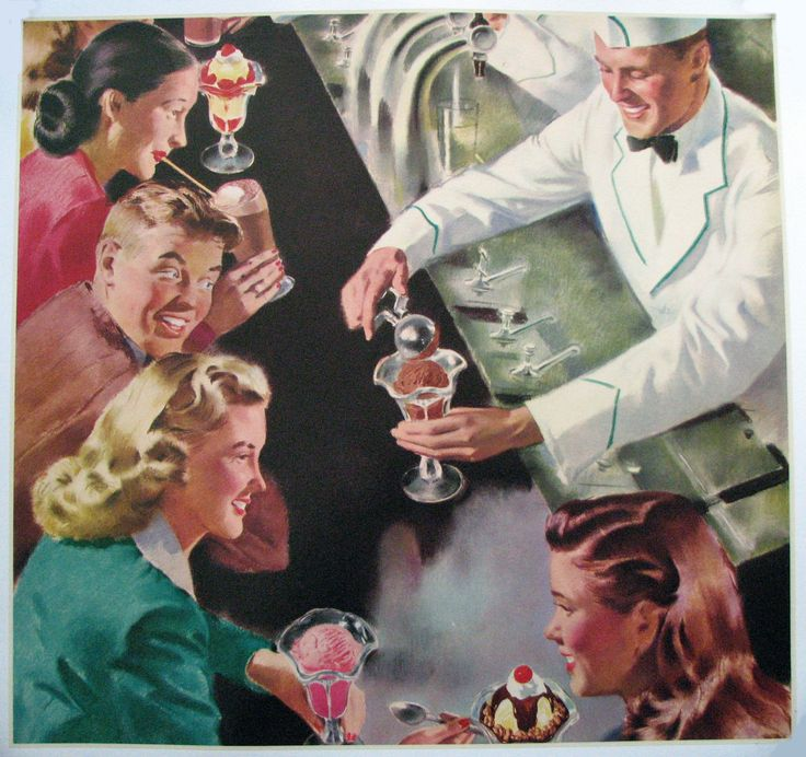 """1950's Antique Ice Cream Bar & Soda Jerk Original Vintage Square Poster AGE: c. 1950's CONDITION: A, Linen Mounted This beautiful old large square poster is considered a """"stock"""" poster with no words p"""