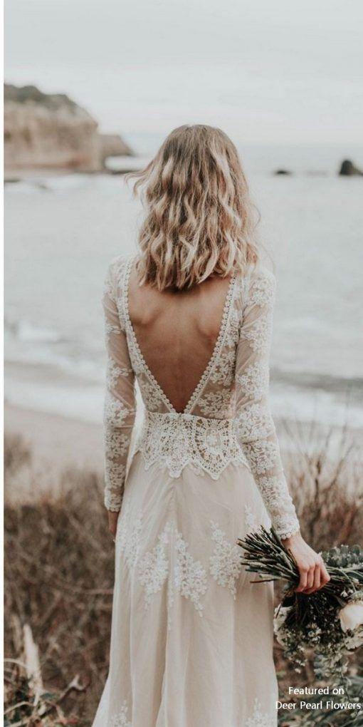 Lisa – Baumwollspitze mit böhmischem Brautkleid mit offenem Rücken
