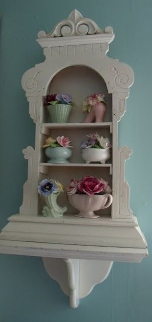 McCoy display-shabby chic shelf from old clock frame... this is fantastic...someone gave this a lot of thought& once again sooo EASY! Now to find the clock case.