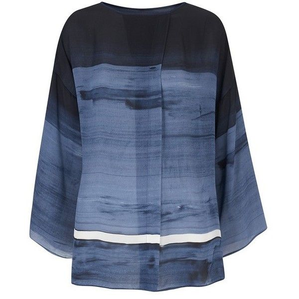 Amanda Wakeley Painterly Denim Brushstroke Print Top (21,025 THB) ❤ liked on Polyvore featuring tops, denim, long-sleeve, loose tops, oversized tops, long sleeve oversized top, loose fitting tops and mixed print top