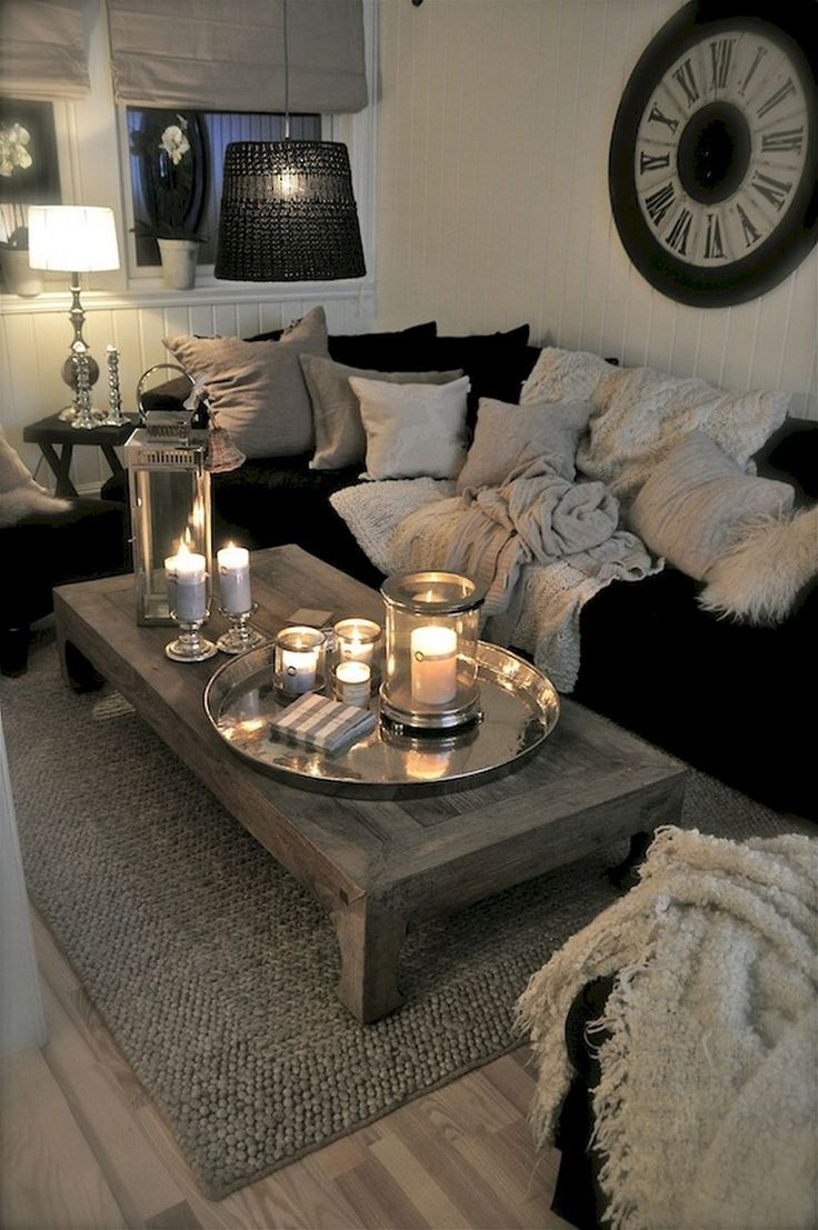 Cozy wall clock accent pillows table