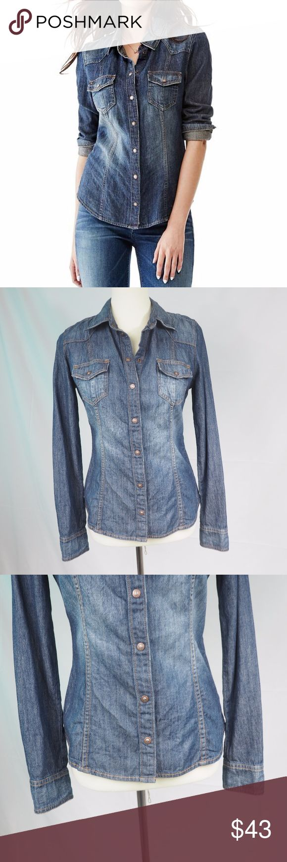 """Guess Snap Up Denim Shirt Size Small Hello! Up for sale is this GUESS Snap Up Denim Blouse in size small in good pre-loved condition. Please view all photos and measurements to ensure your perfect fit before purchase. Please let me know if you have any questions! :)   Measurements Shoulder-Shoulder- Nearly 15"""" Top-Bottom - 24.5"""" Underarm-Underarm - 17.5"""" Sleeve - 25.5"""" Guess Tops Button Down Shirts"""