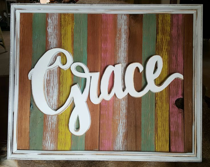 Framed grace cut out reclaimed wood cutout words painted Reclaimed wood wall art for sale