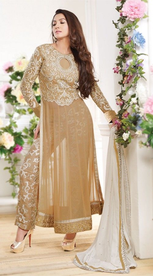Gauhar Khan In Beige Parallel Pant Suit BR150149