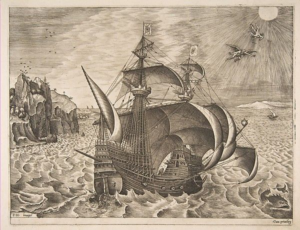 Armed Three-master with Daedalus and Icarus in the Sky from The Sailing Vessels