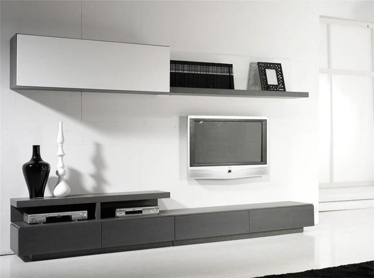 All in One Contemporary Wall Storage System Shelving, TV Unit and Cabinets - Modern wall storage system in various glass, high gloss and wood veneer finishes