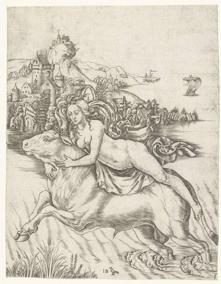 Ontvoering van Europa op rug van Jupiter in gedaante van stier, Meester IB met de vogel, 1500 - 1515