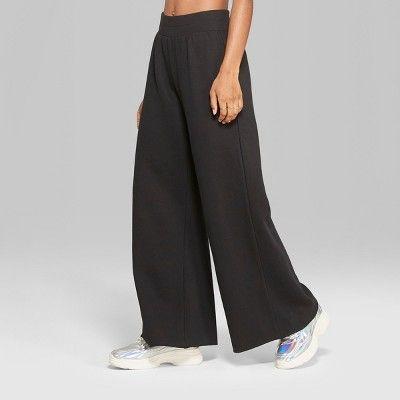 3099dc5cb00 Women's High-Waist Wide Leg Sweatpants - Wild Fable™ Black XL in ...