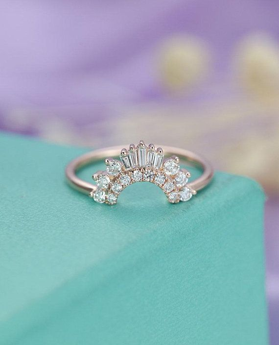 63 Gorgeous Wedding Bands For Women That Will Make Your Engagement Ring Shine Junebug Weddings Diamond Wedding Bands Custom Wedding Rings Curved Wedding Band