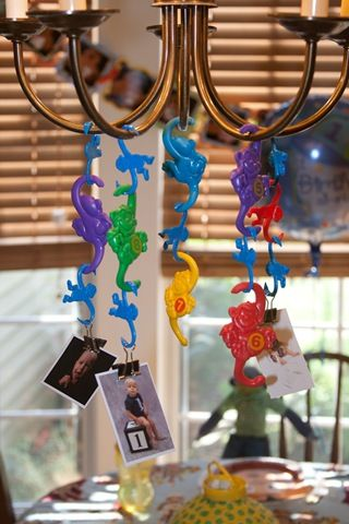 find some barrel of monkeys!  monkey decoration idea