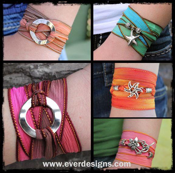 Silk ribbon wrap bracelets. Love this for summer! #bohochic #jewelry