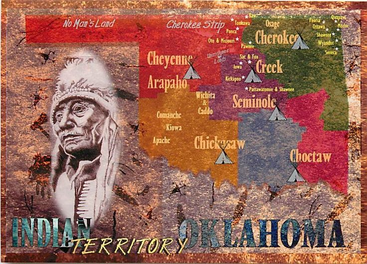 Postcard of Oklahoma Native American Tribes Map 3 | eBay ...