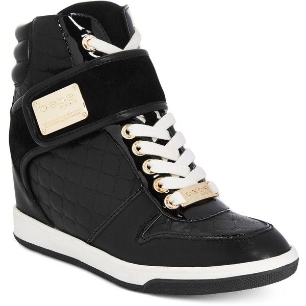 bebe Sport Colby Wedge Sneakers ($89) ❤ liked on Polyvore featuring shoes, sneakers, black, wedge trainers, bebe shoes, wedged sneakers, bebe and black shoes