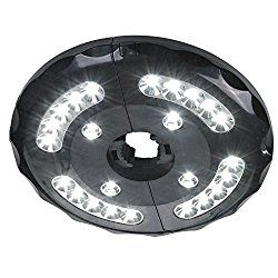 Patio Umbrella Lights, Cordless 24 LED Night Lights, 12,000 lux Umbrella LED Light, Battery Operated Umbrella Pole Light for Umbrellas, Camping Tents or Outdoor Use (Black)